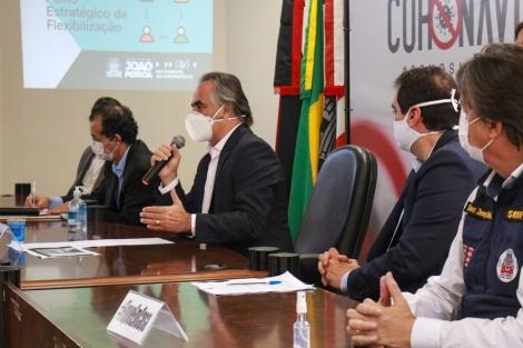 O prefeito de João Pessoa, Luciano Cartaxo (PV), anuncia novas medidas do Plano Estratégico de Flexibilização nesta sexta-feira (26), no Paço Municipal