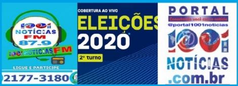 AO VIVO  -  Portal 1001 Notícias e rádio 1001 Notícias FM realizam neste domingo a maior cobertura jornalística das eleições municipais